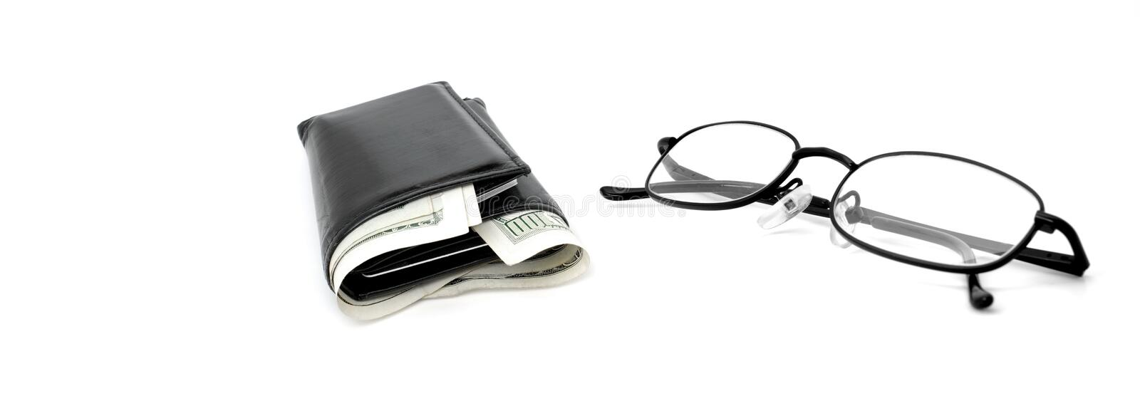 Download Cash Wallet and Glasses stock image. Image of money, white - 23858935