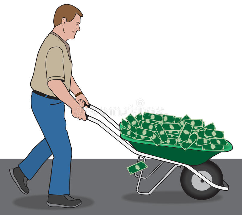 Cash in a Wheelbarrow stock illustration