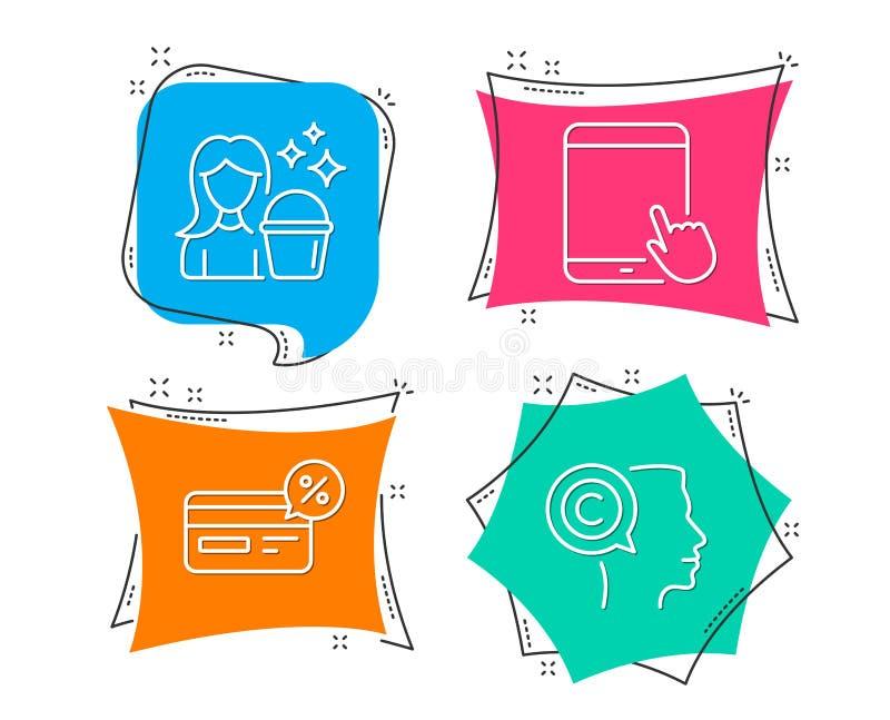 Cashback,片剂个人计算机和清洁象 作家标志 非现金付款,触摸屏幕小配件,佣人服务 库存例证