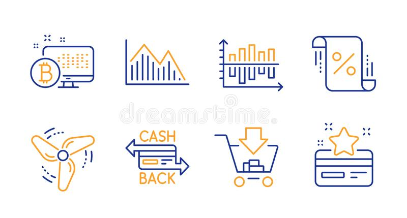 Cashback card, Investment graph and Diagram chart icons set. Loan percent, Shopping and Wind energy signs. Vector. Cashback card, Investment graph and Diagram royalty free illustration