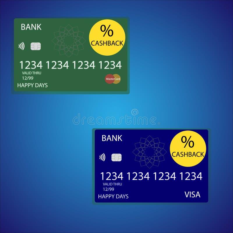 Cashback cards vektorillustrationen stock illustrationer