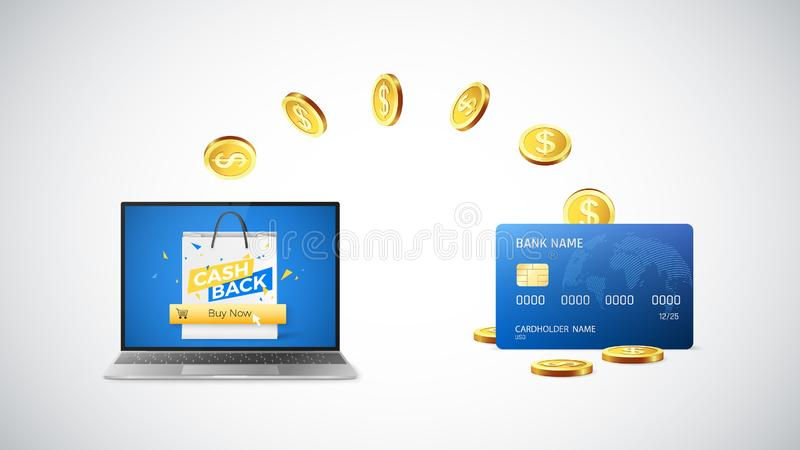 Cashback concept. Golden Coins return to credit card after buying things online. Online shopping with cashback. Vector vector illustration