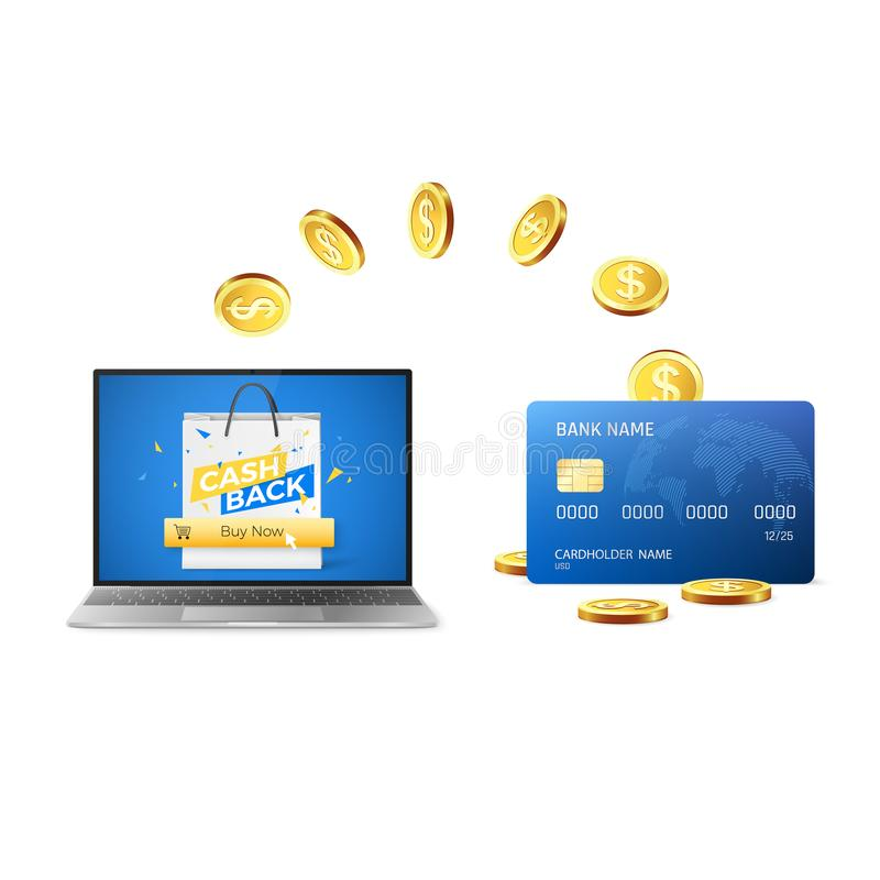 Cashback concept. Golden Coins return to credit card after buying things online. Online shopping with cashback. Vector stock illustration