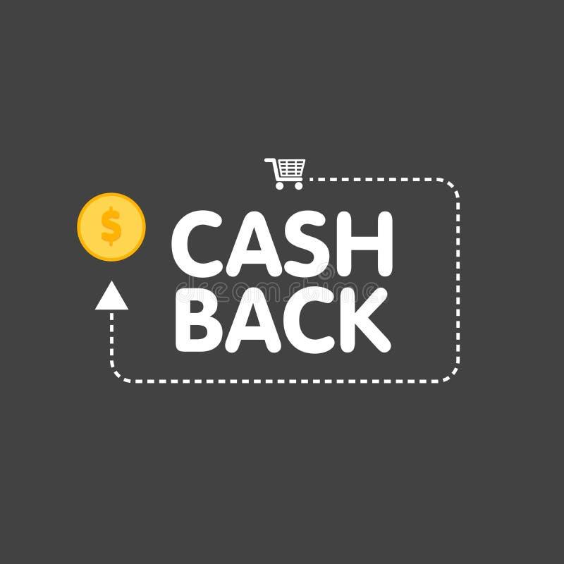 Cashback concept logo vector illustration coins and arrow royalty free illustration