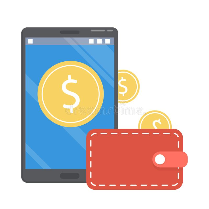 Cashback concept. Money falling from the mobile stock illustration
