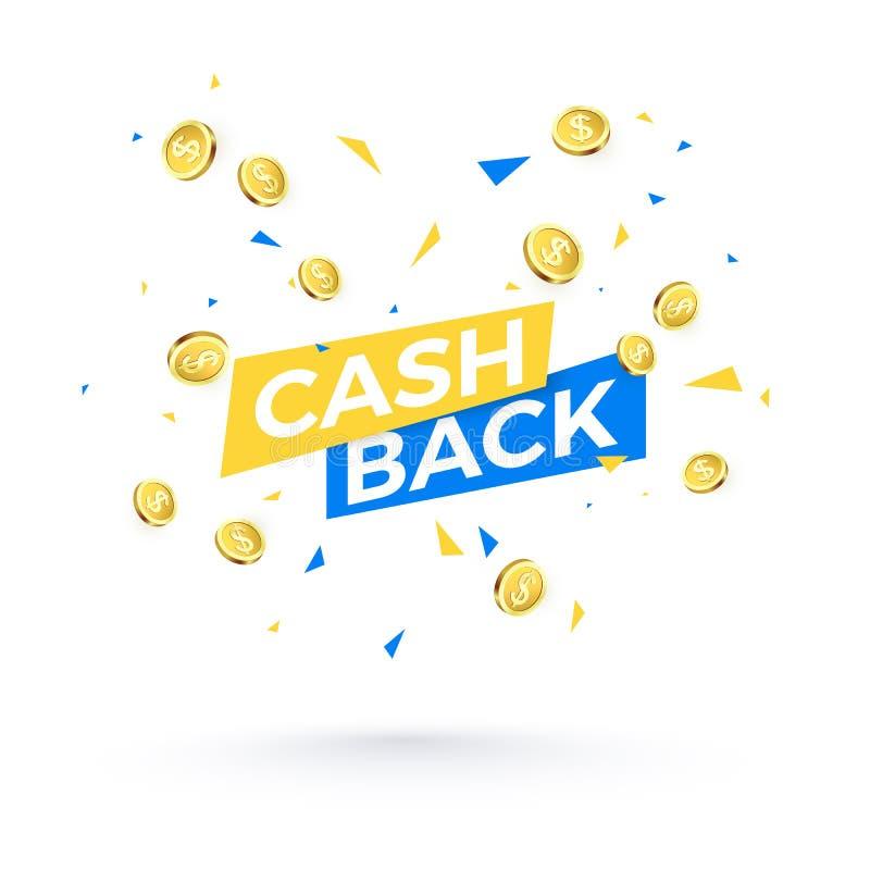Cashback-Fahnenkonzept Cashback-Text und fallende Konfetti- und Goldenemünzen Vektorabbildung getrennt auf weißem Hintergrund vektor abbildung
