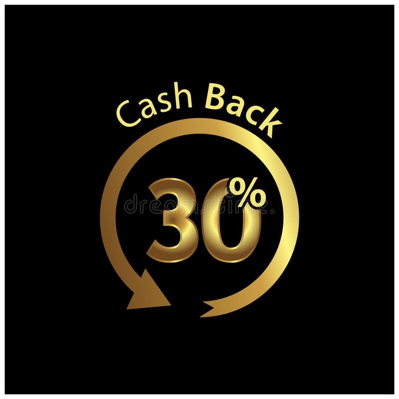 Cashback-Ikone, Goldikone Vektorillustration auf schwarzem Hintergrund vektor abbildung
