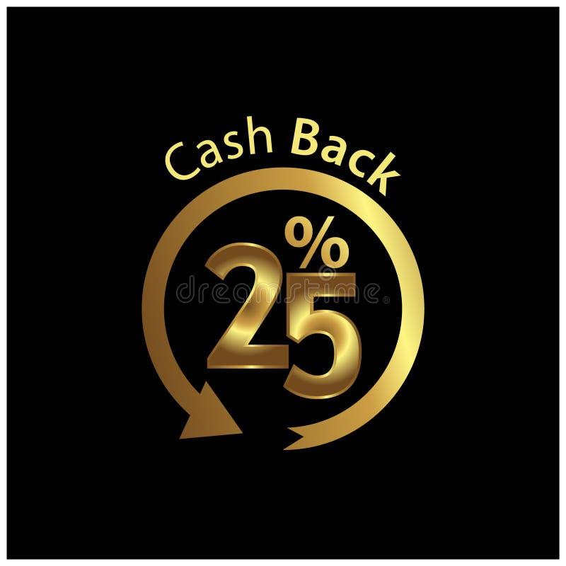 Cashback-Ikone, Goldikone Vektorillustration auf schwarzem Hintergrund lizenzfreie abbildung