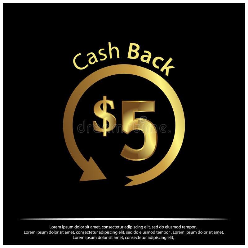 Cashback-Ikone, Goldikone Vektorillustration auf schwarzem Hintergrund stock abbildung