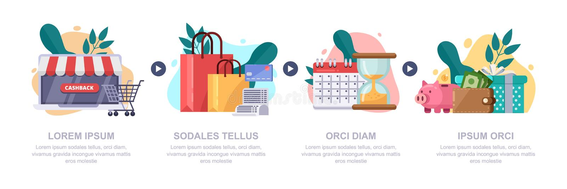 Cashback pieniądze, online usługa Wektorowy infographics szablon Gotówki z powrotem nagrody, prezent i lojalności mieszkania ilus ilustracji