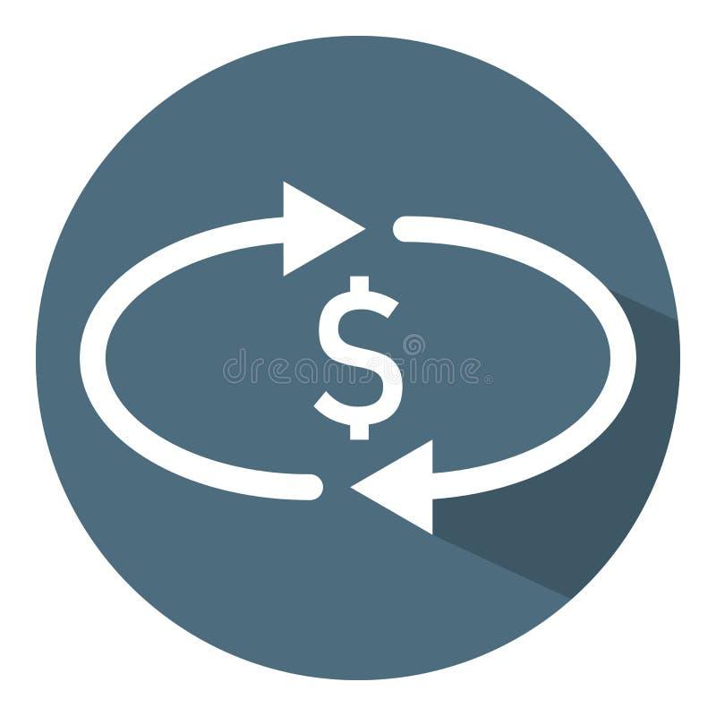 Cashback pieni?dze ikona Przeniesienie, konwertyta, wymiana Białe okrąg strzały Wektorowa ilustracja dla projekta, sie? ilustracja wektor