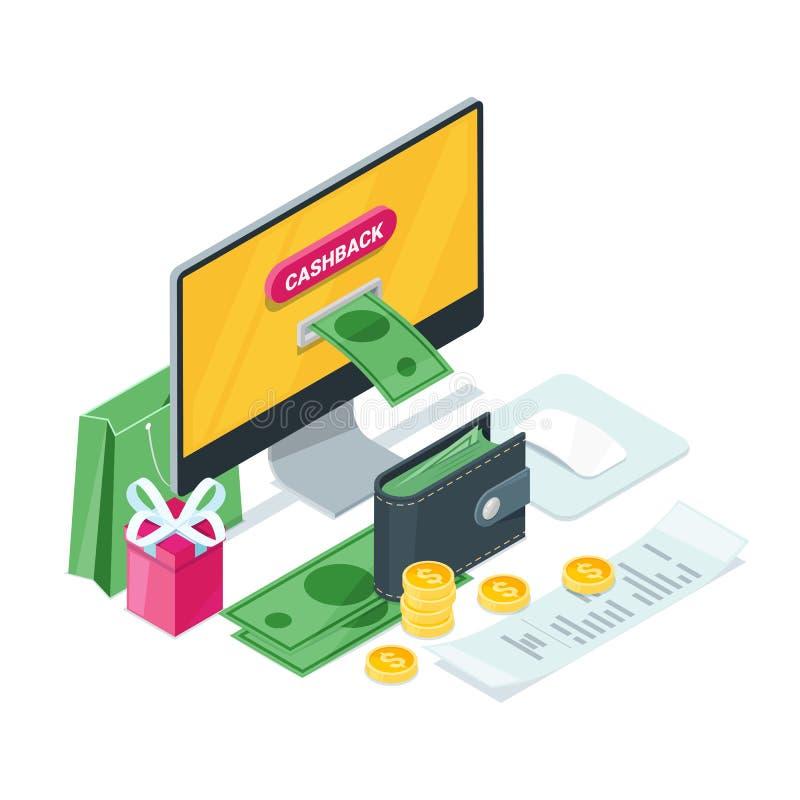 Cashback pojęcie Wektorowa Isometric 3D ilustracja Pieniądze ikony dla gotówki, z powrotem przeniesienie zapłat online usługa lub royalty ilustracja