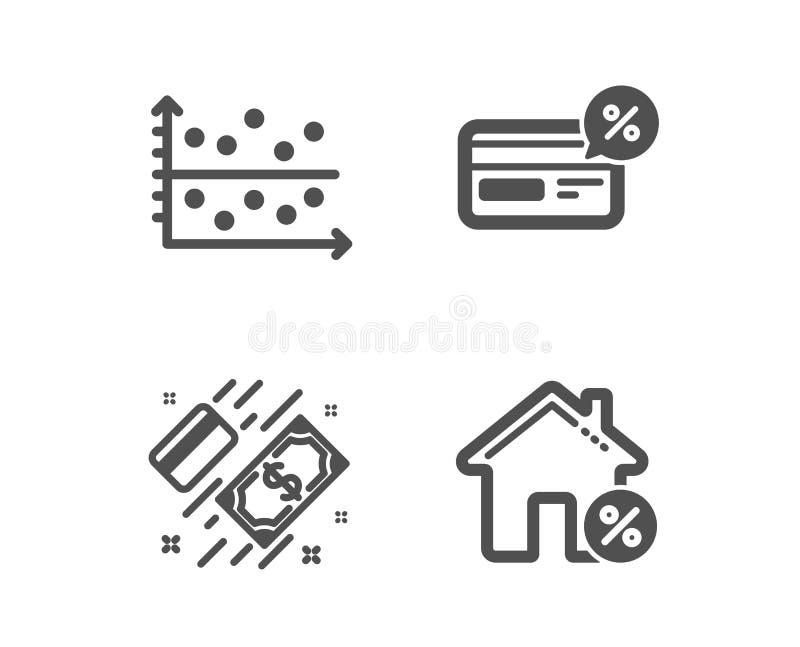 Cashback, pricktäppa och betalningsymboler L?nhustecken Icke-kassa betalning, presentationsgraf, pengar vektor stock illustrationer