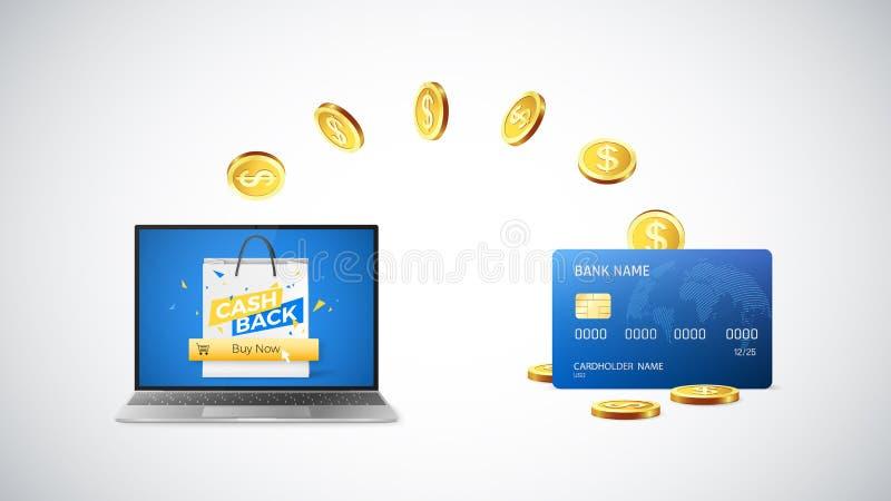 Cashbackconcept Gouden Muntstukkenterugkeer naar creditcard na het kopen dingen online Online winkelend met cashback Vector vector illustratie