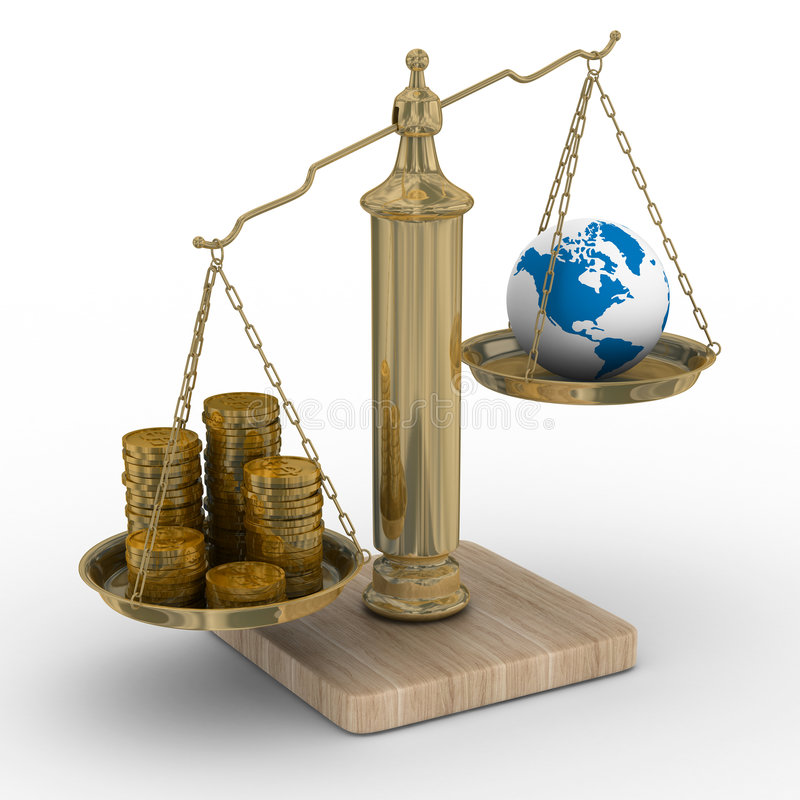 Download Cashes And The Globe On Weights Stock Illustration - Image: 9134863
