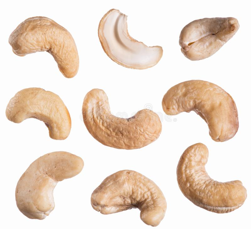 Cashew or indian nut on the white background stock images