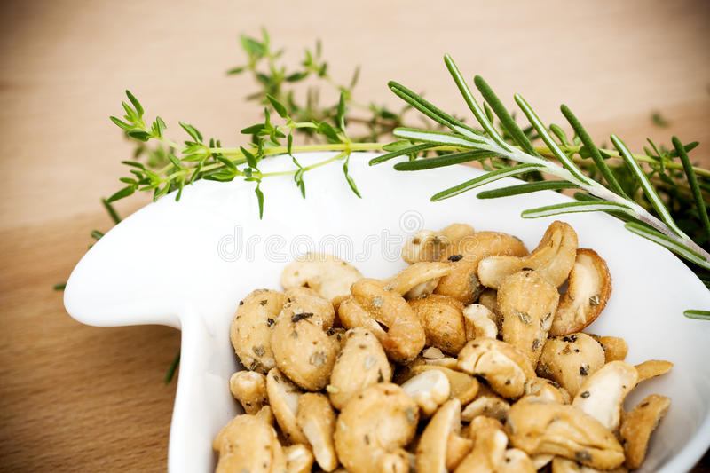 Cashew Nuts And Herbs Royalty Free Stock Photo