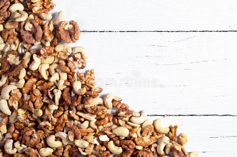 Cashew and walnuts mixture stock photography