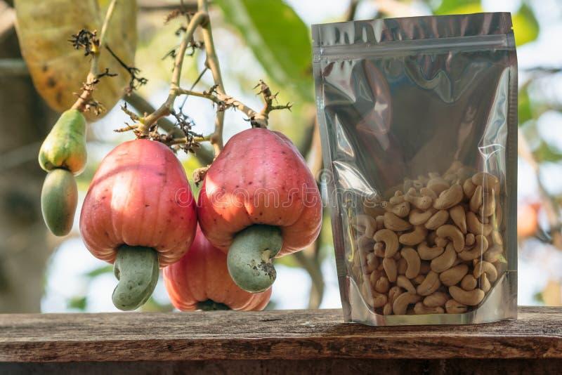 Cashewnoten in de verpakkende zak met rood rijp fruit royalty-vrije stock afbeelding
