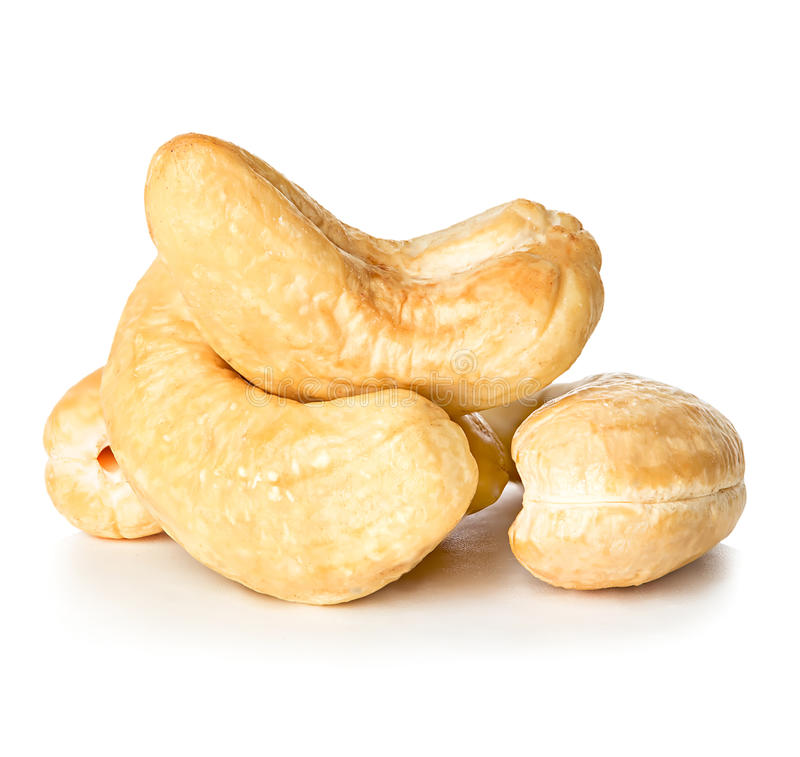 Cashews nuts isolated on a white stock photos