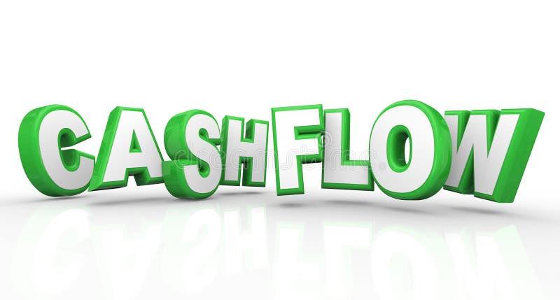Cashflow 3d uttrycker förtjänster för pengar för inkomstintäktström vektor illustrationer