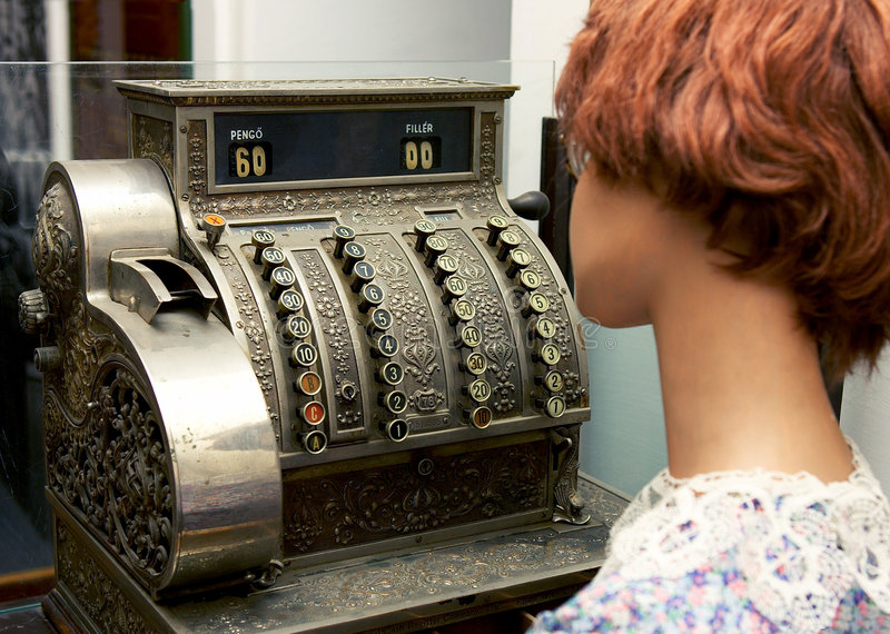 Cashier. Cash register royalty free stock image