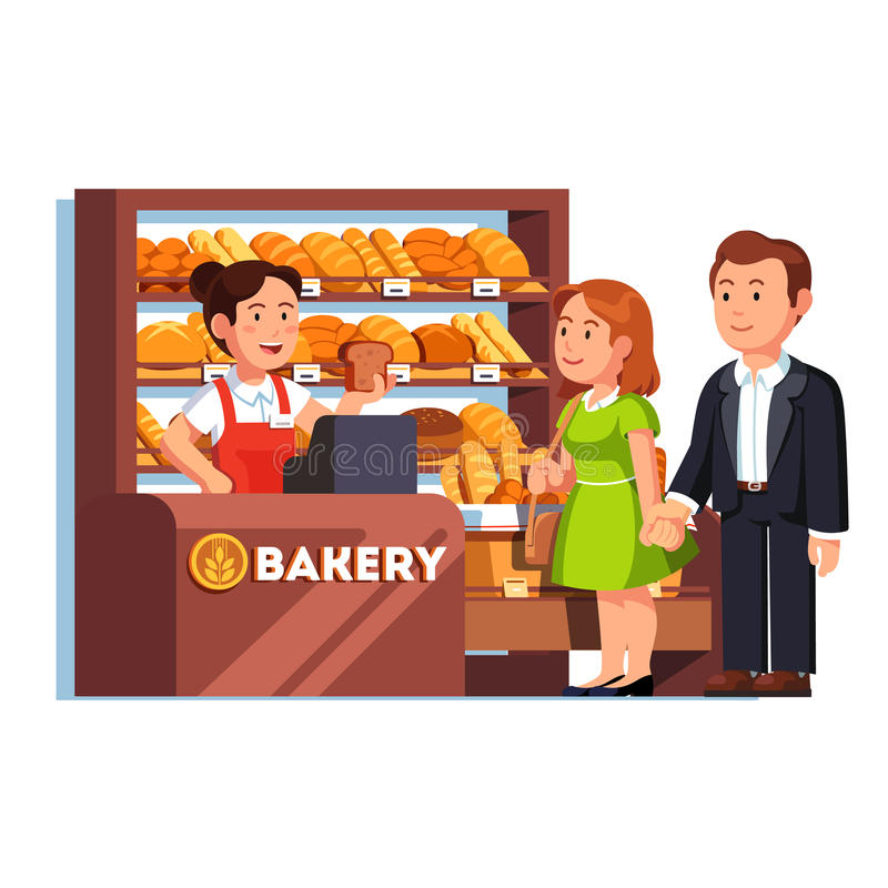 Cashier at bakery checkout serving customers. Cashier girl at bakery checkout counter serving buying customers couple. Woman selling bread to clients. Local stock illustration