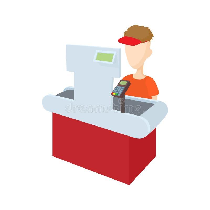 Cashier behind cash register icon, cartoon style vector illustration