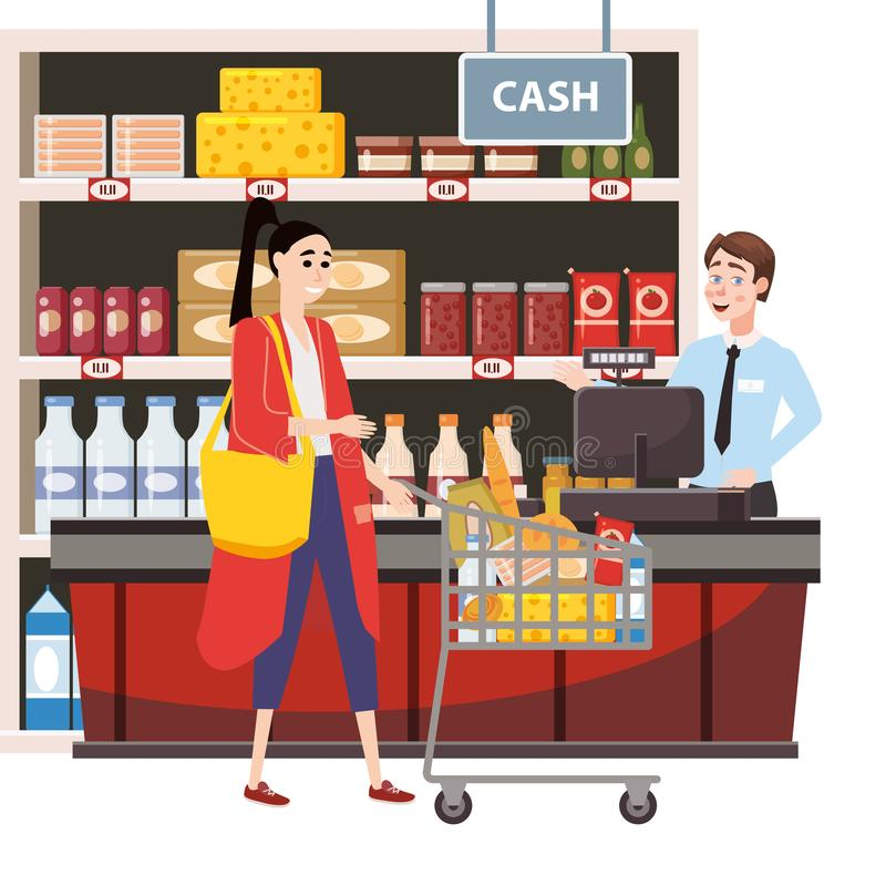 Cashier behind the cashier counter in the interior supermarket with woman buyer shop, store, shelves food products. Goods royalty free illustration