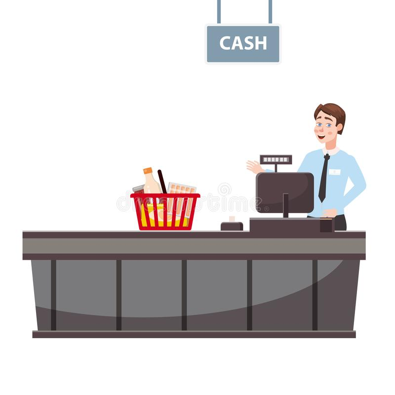 Cashier behind the cashier counter in the supermarket, shop, store with a basket full of groceries. Vector, illustration. Cashier behind the cashier counter in stock illustration