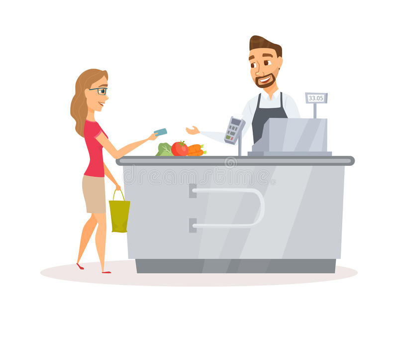 Cashier and buyer. Cashier in the apron and buyer pays purchase. Cash register desk or checkout counter at grocery store. Credit card payment. Cartoon interior vector illustration