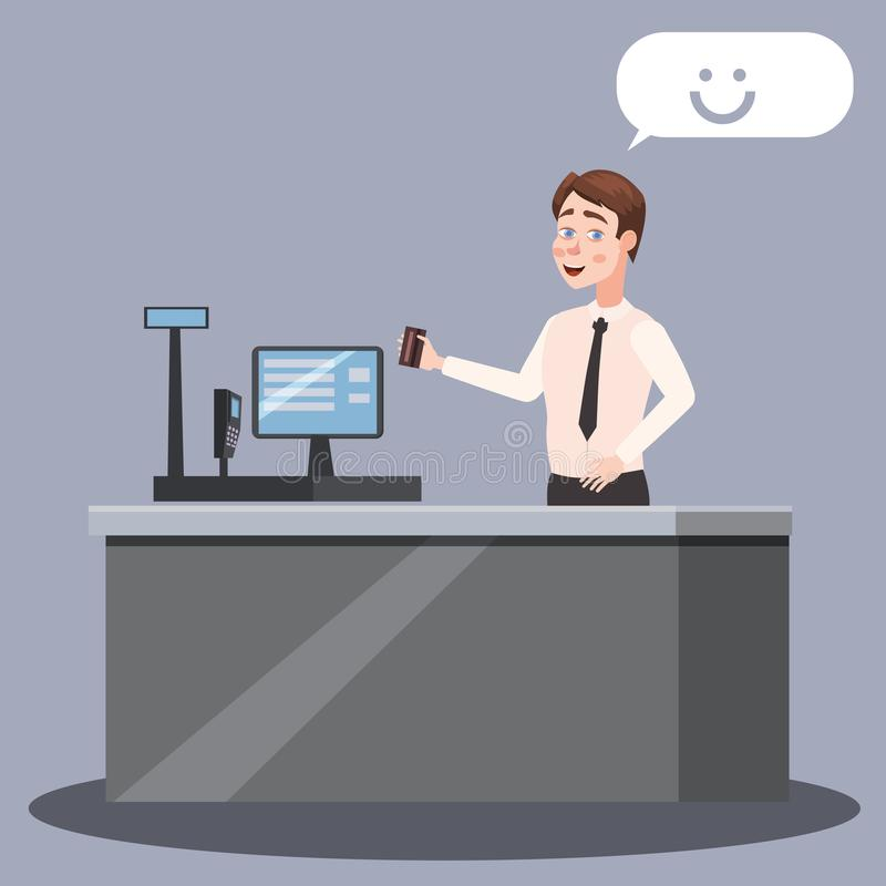 Cashier at the checkout counter with cash register and cash register in the supermarket, cartoon style, vector, illustration, isol vector illustration