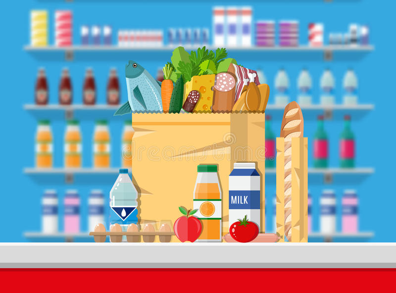 Cashier counter workplace. Supermarket interior. Supermarket interior. Cashier counter workplace. Food and drinks. Shelves with products. Vector illustration in vector illustration
