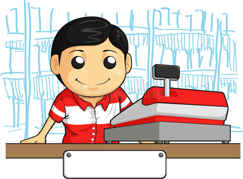Cashier Employee With Friendly Smile Royalty Free Stock Image