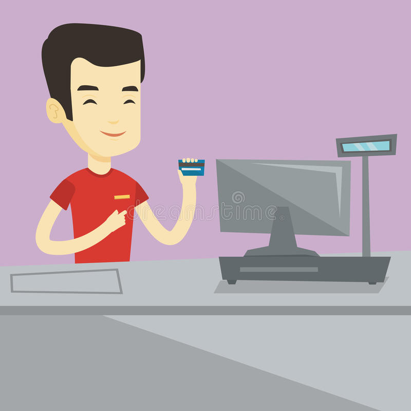 Cashier holding credit card at the checkout. Cashier holding credit card at the checkout in supermarket. Happy cashier working at checkout in a supermarket royalty free illustration