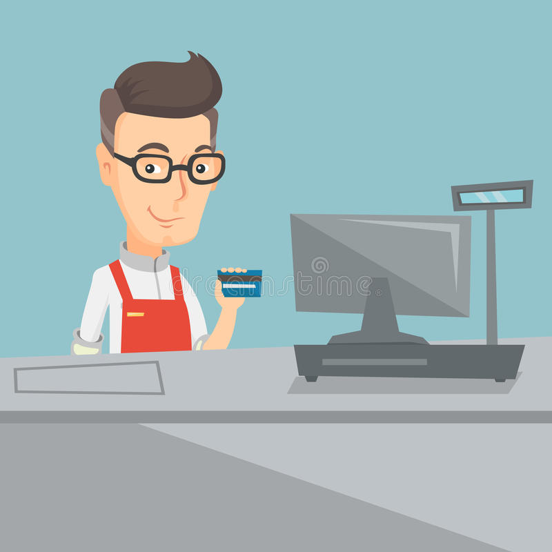 Cashier holding a credit card at the checkout. Cashier holding a credit card at the checkout in a supermarket. Cashier working at the checkout in supermarket vector illustration