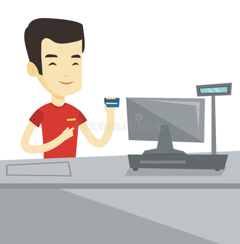 Cashier holding credit card at the checkout. Cashier holding credit card at checkout in supermarket. Cashier working at checkout in supermarket. Cashier royalty free illustration