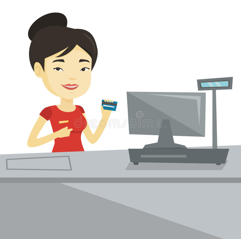Cashier holding credit card at the checkout. Cashier holding credit card at checkout in supermarket. Cashier working at checkout in supermarket. Cashier vector illustration