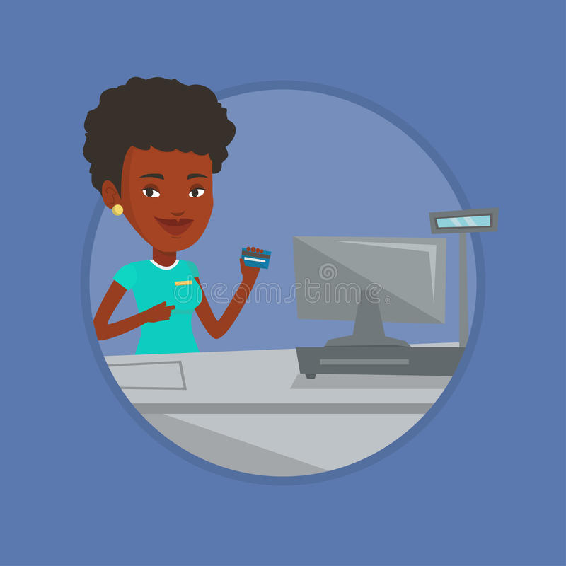 Cashier holding credit card at the checkout. Young african-american cashier holding credit card at the checkout in supermarket. Cashier working at checkout in a vector illustration