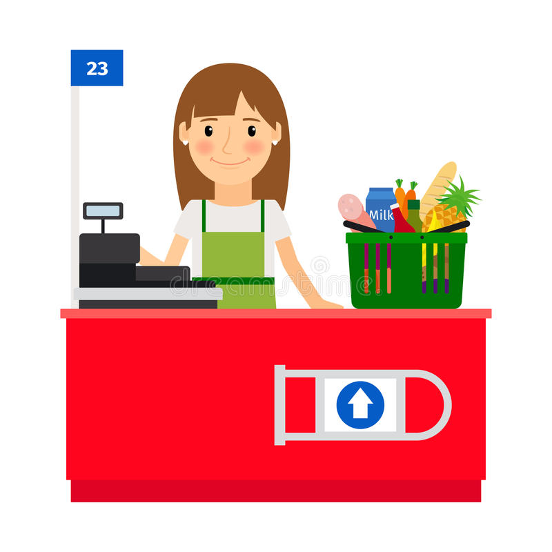 Cashier lady at her workplace stock illustration