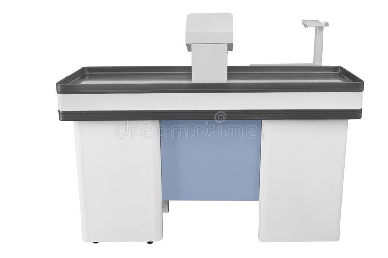 Cashier machine or cash register terminal. Isolated on white background, black, blue, business, buy, check, checkout, commercial, computer, counter, dark stock image