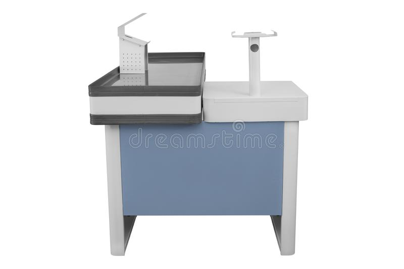 Cashier machine or cash register terminal. Isolated on white background, black, blue, business, buy, check, checkout, commercial, computer, counter, dark royalty free stock photos