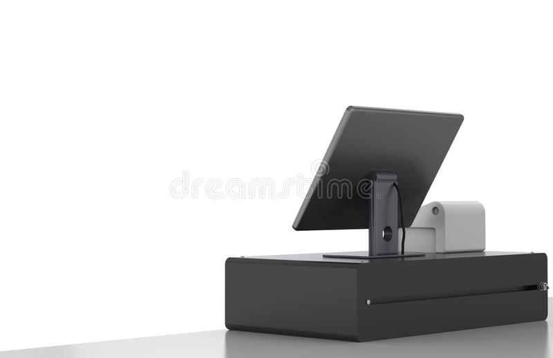 Cashier machine. 3d rendering cashier machine or cash register on white background stock photography