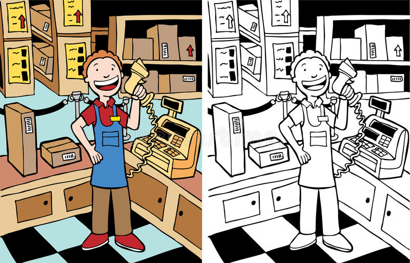 Download Cashier Man stock vector. Illustration of clipart, element - 9824411