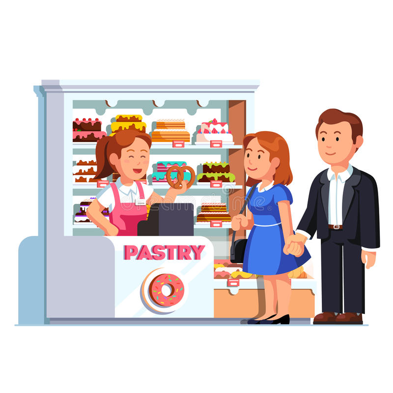 Cashier at pastry checkout serving customers. Cashier girl at pastry checkout counter serving buying customers man and woman. Showcase full of cakes and baked stock illustration