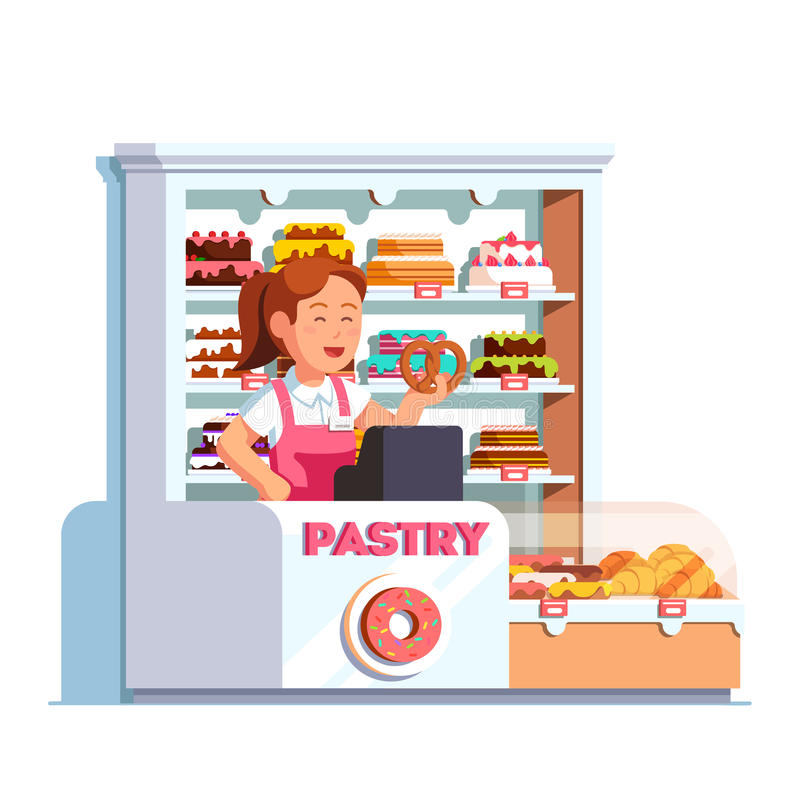 Cashier at pastry store at bakery checkout counter. Local business owner working as cashier at pastry store showing pretzel in hand at bakery checkout counter vector illustration