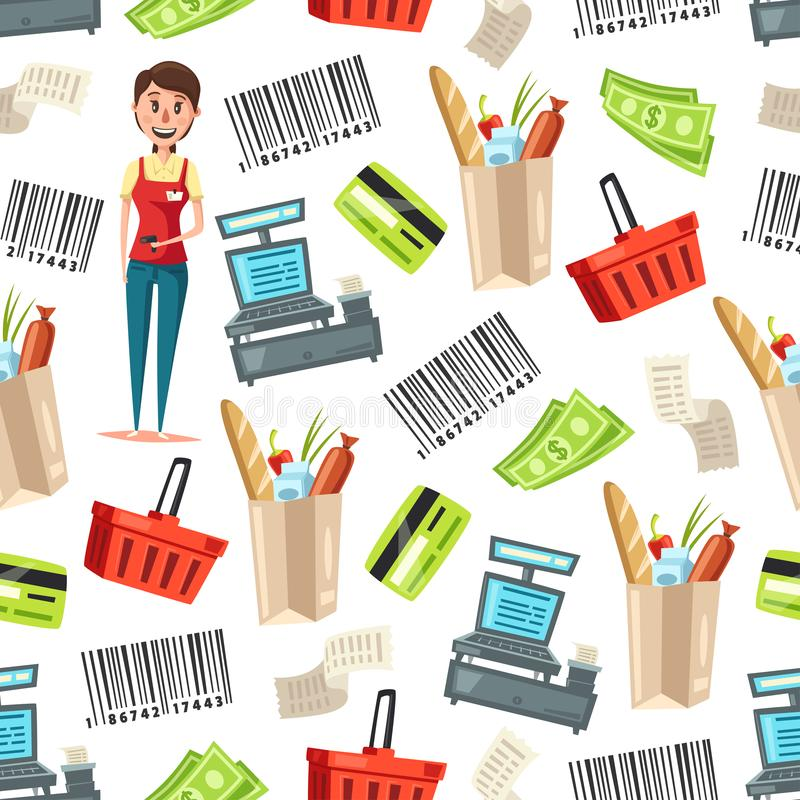 Cashier or seller of retail store seamless pattern vector illustration
