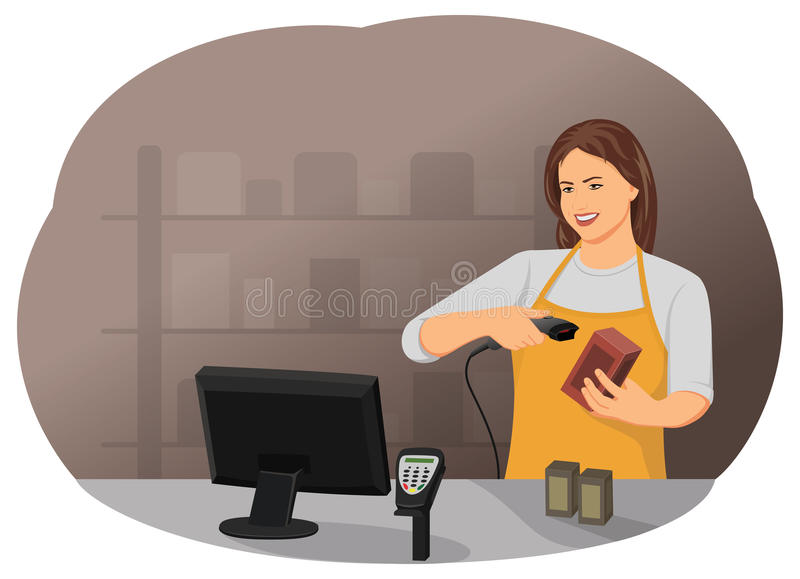 Cashier. Is standing at checkout with bar code scanner in supermarket store. Small business and retail royalty free illustration