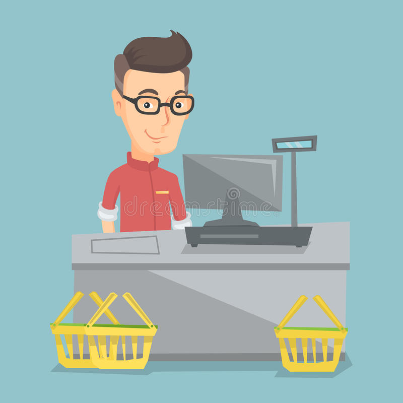 Cashier standing at the checkout in a supermarket. Caucasian cashier standing at the checkout in a supermarket. Cashier working at the checkout in a supermarket stock illustration