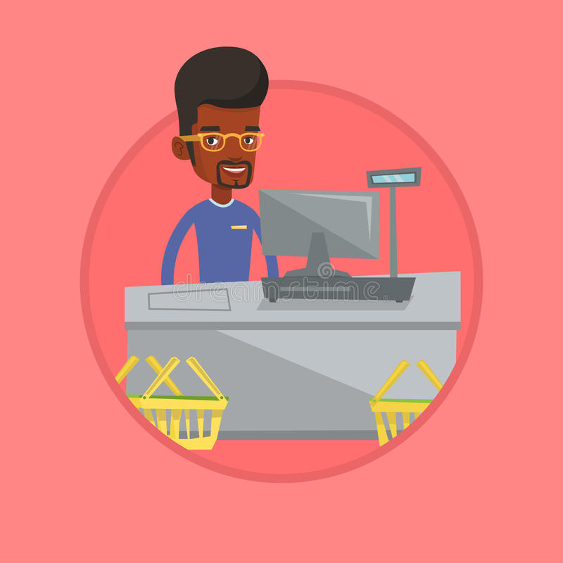 Cashier standing at the checkout in supermarket. Cashier working at checkout in a supermarket. Cashier standing near the cash register. Vector flat design vector illustration
